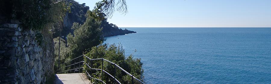Vista di Punta Chiappa dalla strada pedonale di Scogli Grossi